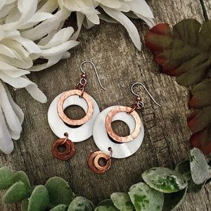 Mother of Pearl hammered copper dangle earrings